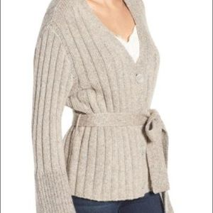 Leith Belted bell sleeve tie cardigan gray sz XS